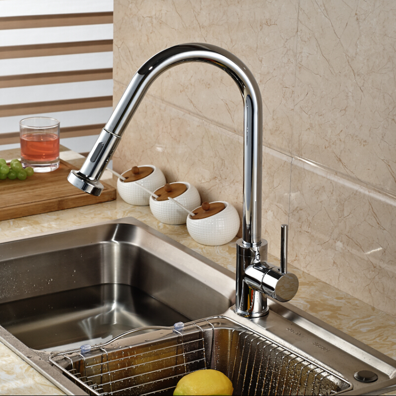 цена Polished Chrome Deck Mount Kitchen Mixer Faucet Single Lever Dual Sprayer Nozzles Water Taps