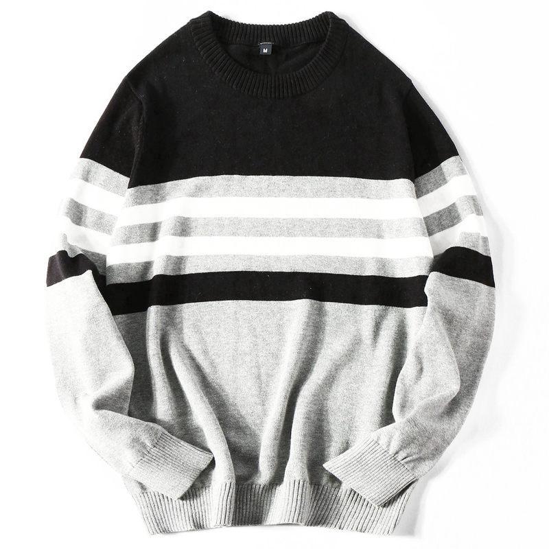 Stetig Neue Herbst Mode Für Männer Pullover Pullover Langarm Rundhals Gestreiften Stricken Kaschmir Weihnachten Pullover Männer Hell In Farbe