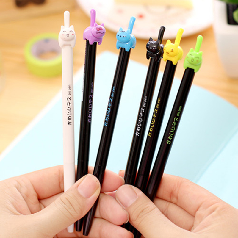 цена на 8 pcs/Lot Cute kitties black ink gel pen Lucky cat Kawaii stationery zakka Office  material escolar school supplies 6579