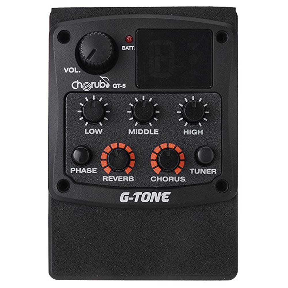 Cherub G-Tone GT-5 Acoustic Guitar Preamp Piezo Pickup 3-Band EQ Equalizer LCD Tuner with Reverb/Chorus Effects joyo je 306 5 band equalizer with tuner music instrument accessory