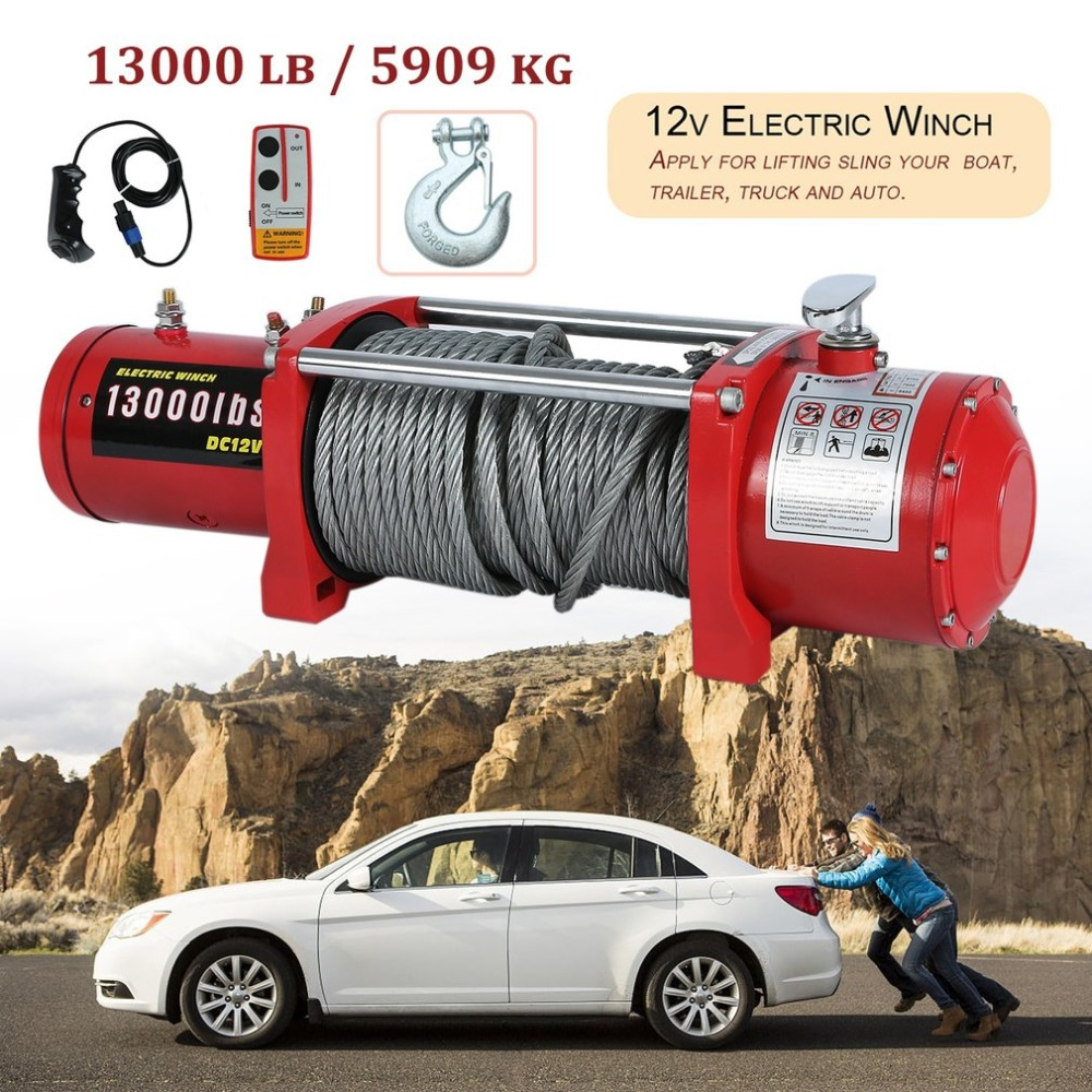 12V Electric Winch High Performance Cars Engines Lift Winch With Remote Control Auto Lifting Sling Crane Equipment EU Plug murphy m sling enr1x14 endless round sling purple x 14 synthetic rigging crane lifting belt