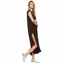 Fashion Women Tshirt Dress Free Shipping Summer Long Maxi Casual Dresses Loose Leisure Clothing Solid V-neck Cut Slide Design