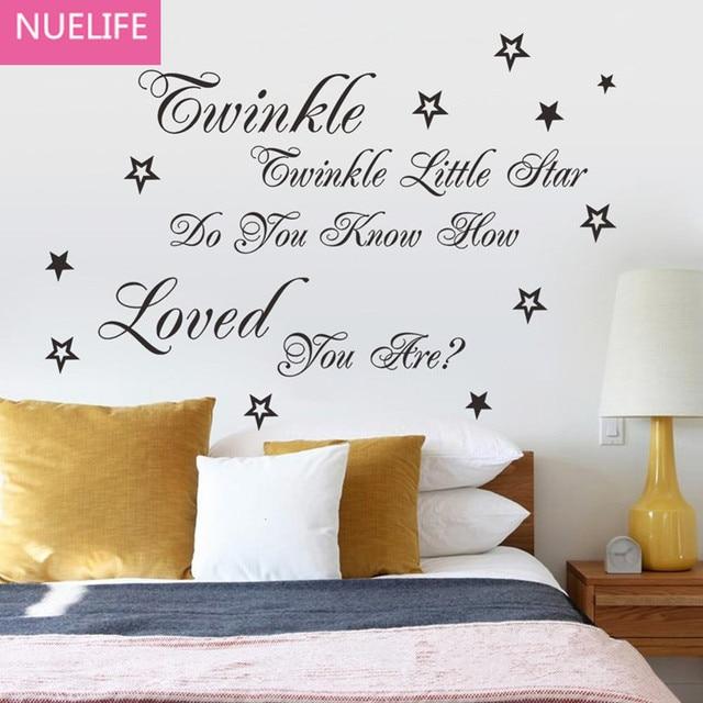 Little star Engels tekst patroon muurstickers kinderkamer