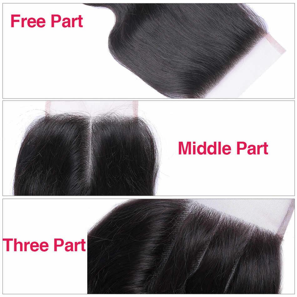 Ariel Body Wave 4*4 Cierre de encaje 100% cabello humano Color Natural malayo pelo no Remy medio/tres /cierre de parte gratis de 8-22 pulgadas