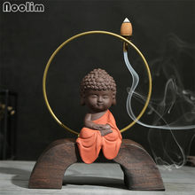 Purple Clay Zen Little Monk Backflow Incense Burner Smoke Waterfall Incense Holder Home Decor Kung Fu Tea Set Accessories(China)