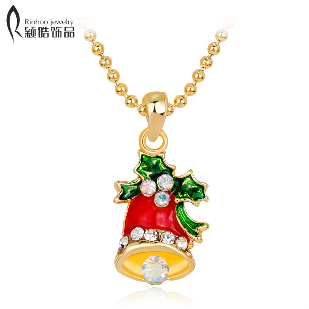 Christmas Gifts Necklaces Fashion Charm crystal Christmas Bells Pendant Necklace Women Jewelry Sweater Chain Kids Gifts