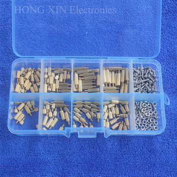 цена на 320pcs M2 PCB Male Female Thread Brass Spacer Standoffs/ Screw /Hex Nut Assortment set Kits with Plastic Box Spacer