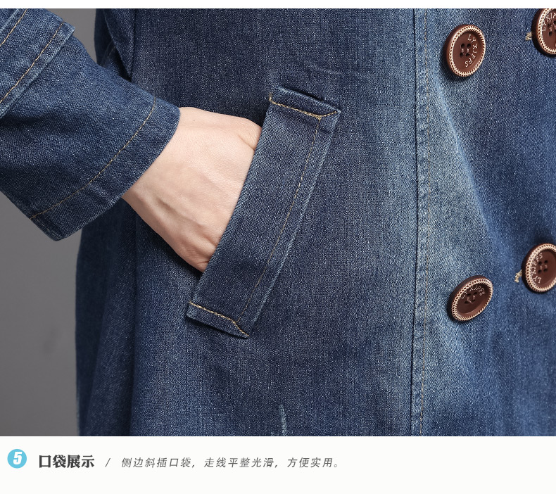 British Style Women Double-breasted Denim Trench Coat Woman Casual Jeans Duster Coats Plus Size Overcoats Lady Leisure Trenches Outerwear (1)