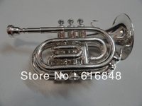 Factory Wholesale Fidelity Pocket Trumpet Bb Tone Surface Silver Brass Instruments Horn 123mm