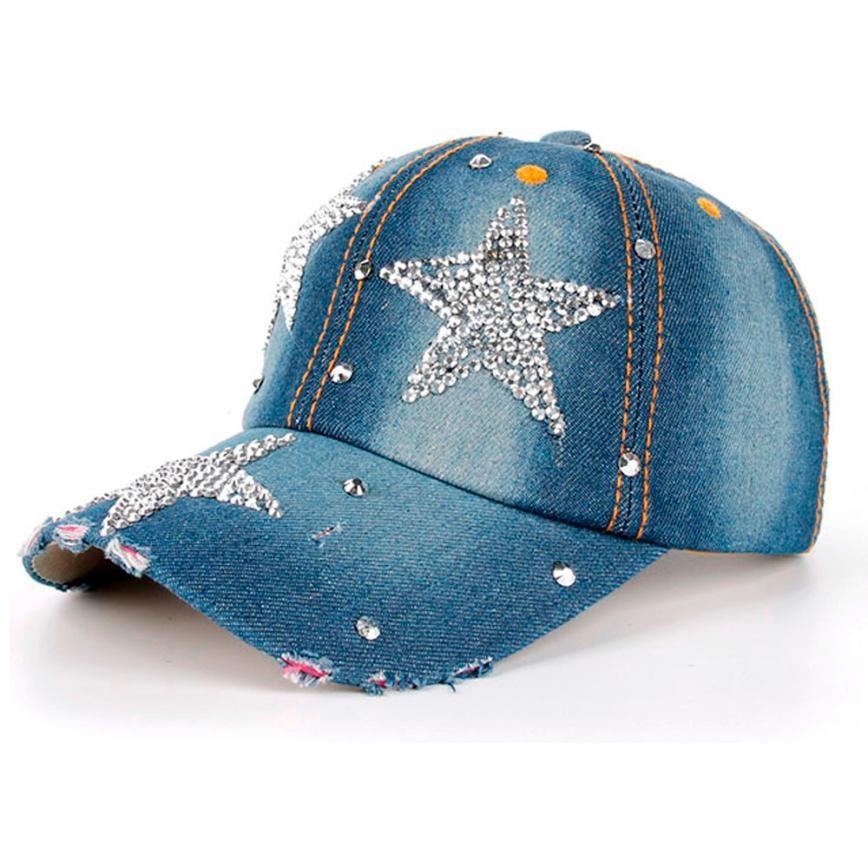 Unisex Stars Denim point drill Rhinestone Women   Baseball     Cap   Lady jean Snapback Hip Hop Flat Hat Men cowboy hat casquette