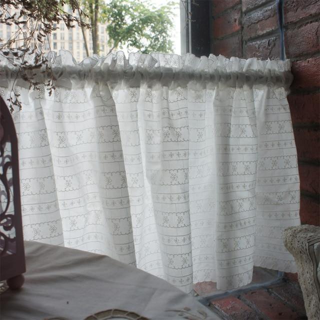 Envío libre fresco paño de algodón blanco bordado cortina de la ...