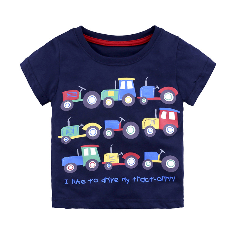 Baby Boys Cotton Style Short Sleeve O-Neck Pullover Cartoon Print T-Shirts