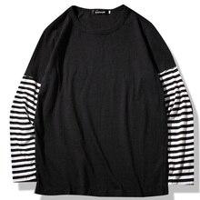 Camisetas de manga larga de estilo Hip Hop para hombre, camiseta de retales a rayas con cuello redondo, camisetas informales cómodas de moda para hombre, ropa para primavera y otoño