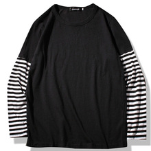 Hip Hop Long Sleeve T-shirts Men O-neck Striped Patchwork T