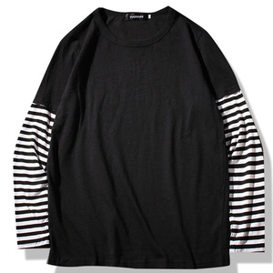Image 1 - Hip Hop Long Sleeve T shirts Men O neck Striped Patchwork T Shirt Men Fashion Casual Comfortable T Shirts Men Spring Autumn