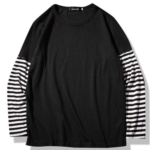 Hip Hop Long Sleeve T shirts Men O neck Striped Patchwork T Shirt Men Fashion Casual Comfortable T Shirts Men Spring Autumn