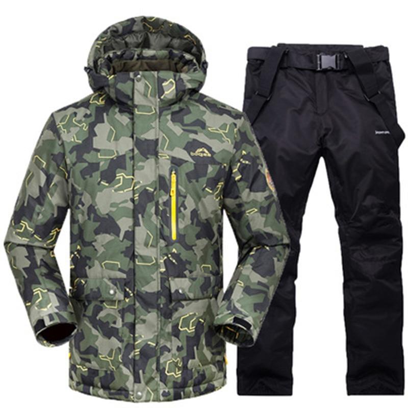 2019 nouveau costume de ski d'hiver ensemble masculin coupe-vent imperméable à l'eau chaude combinaison de ski pour kit de snowboard mâle extérieur chaud veste de ski + pantalon