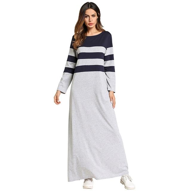 826efc8793565 US $21.97 40% OFF|Fashion Muslim Abaya Stripe Maxi Dress Kimono Long Robe  Gowns Loose Style Plus Size Jubah Ramadan Middle East Islamic Clothing-in  ...
