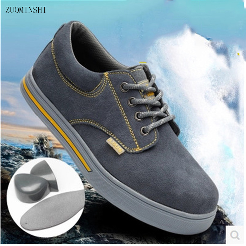 Work Safety Shoes men Steel Toe Warm Breathable Men's Casual Boots bot wear resistant anti slip light safety shoes round Toe super shock absorbing steel toe cap safety shoes tear resistant breathable work shoes