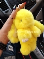 candy yellow cute Bunny Bag bug keychain Rabbit Fur keyring bunny fur cham Doll Car Keychains Backpack purse Pendant wholesale