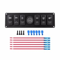 12V Switch Panel 6 Gang Blue LED Rocker Switch Panel with Alarm Voltmeter for Car RV Boat Yacht Marine Car Styling