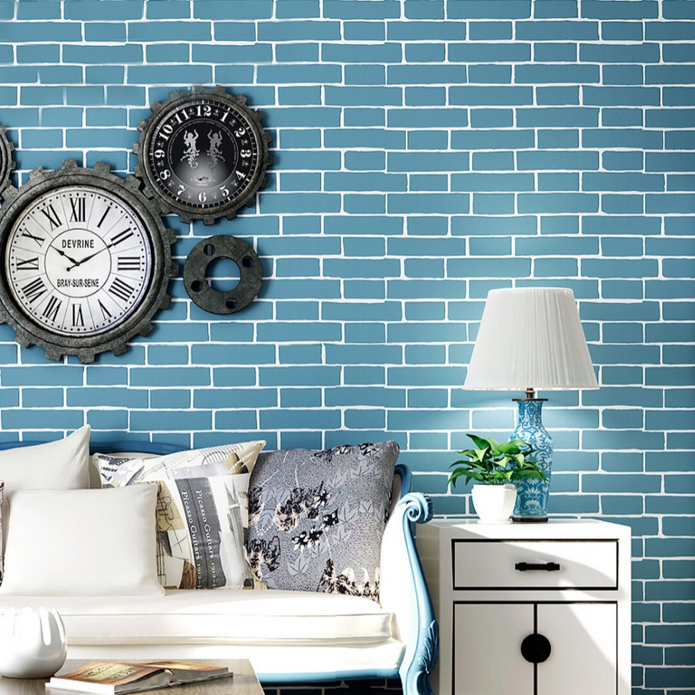 Modern simple blue brick pattern non woven wallpaper 3d for Living room paper