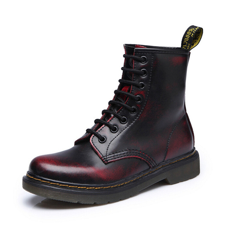 Top quality split Leather Women Boots Dr Martin boots shoes High Top Motorcycle Autumn Winter shoes woman snow Boots size 36-46Top quality split Leather Women Boots Dr Martin boots shoes High Top Motorcycle Autumn Winter shoes woman snow Boots size 36-46