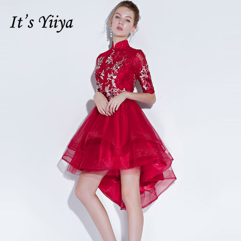 It's Yiiya   Prom     Dresses   2018 New Embroidery Red Irregular Tiered Design A-line Knee-length Party Gowns Formal   Dresses   LX1312