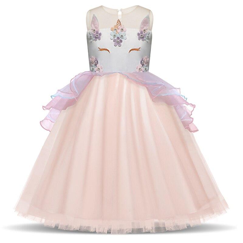 Blumen Einhorn Party Kleid Für Mädchen Hochzeit Kleine Prinzessin kinder Mädchen Kostüm Für Kinder Tüll Formale Sommer Kleidung 3 8 t