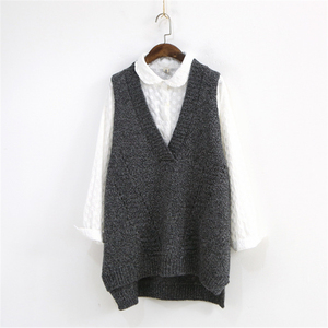 Image 3 - Johnature Women Sweaters V Neck Sleeveless Loose 2020 Autumn New Korean Fashion Hollow Out 4 Colour Casual Tops Vest Sweaters