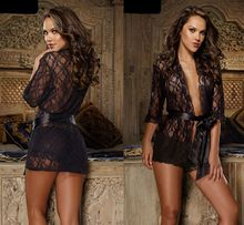 black lace kimono type evening gown Free Shipping 3S4135 attractive comfy sleepwear Sexy Lingerie Back Lace Sleepwear Lace Robe