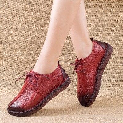Fashion Genuine Retro Hand-Sewing Shoes Donna Flats Genuine Fashion Pelle Soft Bottom Donna Sh 80d233