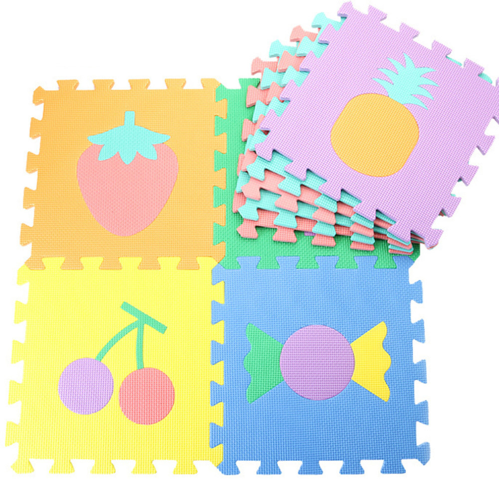 Rubber floor mats baby - 9pcs Set Baby Eva Foam Puzzle Play Mats For Kids Furit Interlocking Floor Mat For