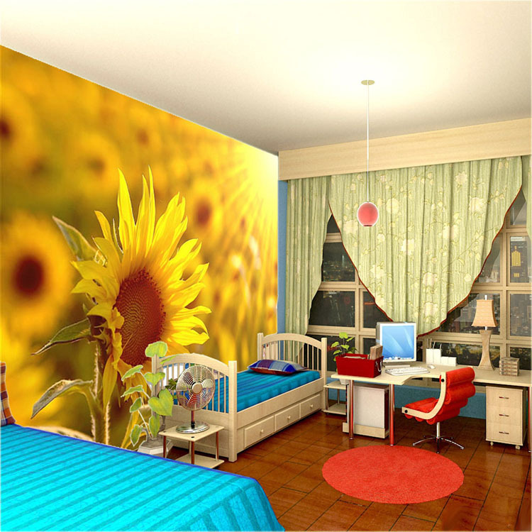 Beautiful Sunflower Wall Mural Flowers Wallpaper Pastoral scenery Photo  Wallpaper Room decor Hotel
