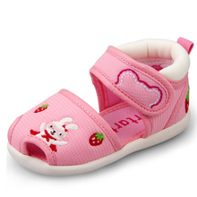 Crtartu Summer Style 1 Pair Pink Sticky Embroidery Cartoon Bear Strawberry Rabbit Baby shoes 18cm