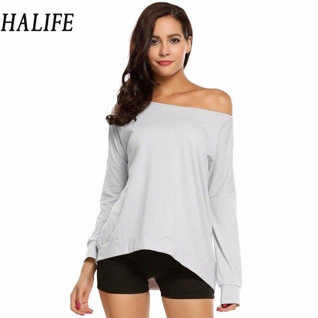 e2609d4d2e793 HALIFE T Shirt Women Drop Long Sleeve One Shoulder Loose Basic Leisure  Autumn tee shirt femme