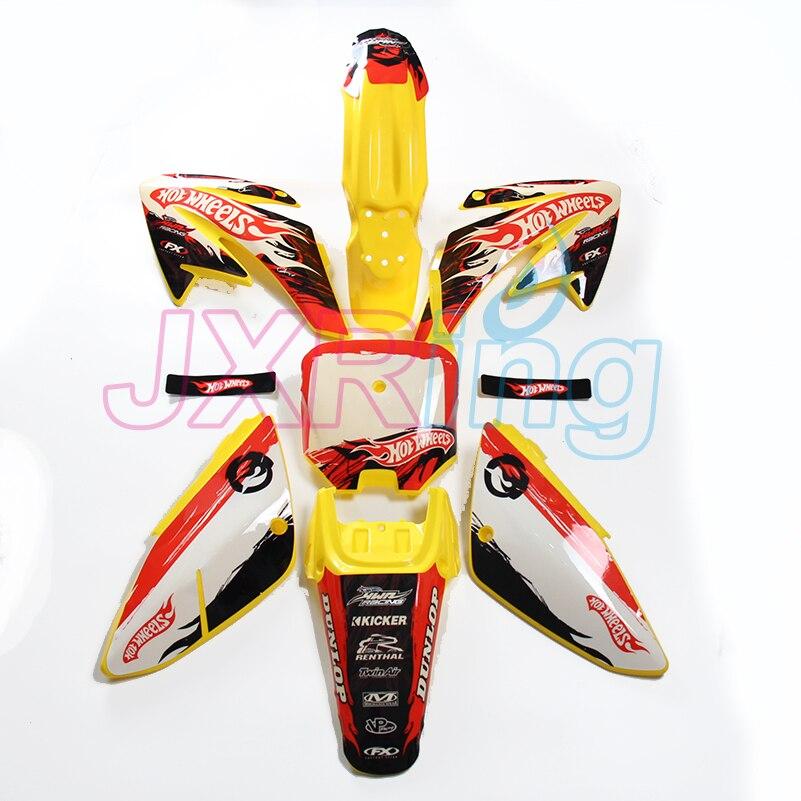Kit plastique carrosserie complet et autocollant graphique complet pour CRF70 Dirt Pit Bike MX Motocross Enduro Supermoto