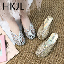 HKJL 2019 summer lace sequin hollow-out slipper women comfortable breathable versatile flat screen shoes loafers A693