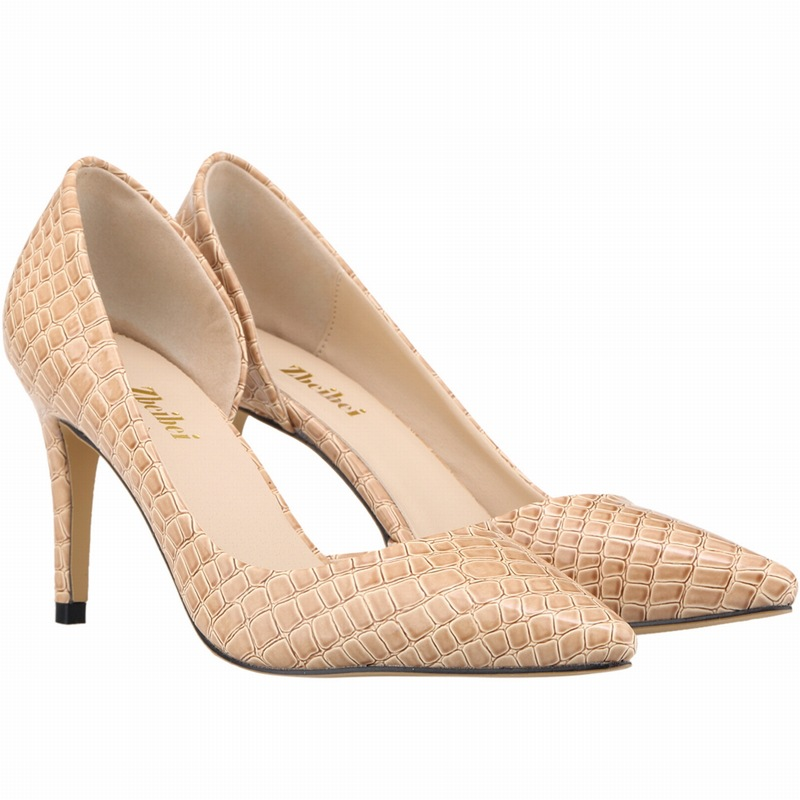 ФОТО Brand New Women Nude Color Patent Leather Pumps Pointed Toe Basic Work Stiletto High Heel Party Shoes