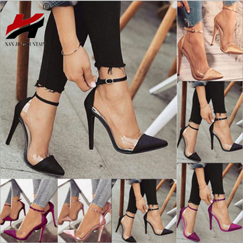 1bc0c85b1 3) NAN JIU MOUNTAIN Foreign Trade High-heeled Pointed Color Matching Belt  Buckle Fashion Ladies Single Shoes Plus Size 34-43