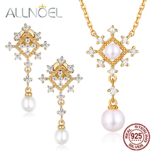 ALLNOEL Freshwater Pearl Gemstone Fine Jewelry Sets For Women Diamond Necklace Earrings 100% Sterling Silver 925 Gold Wedding