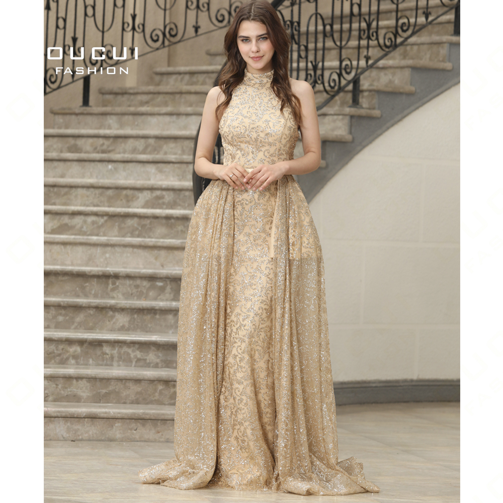 Real Photos Luxury Sequined Party Sexy Ball Gown   Dresses   Mermaid Sleeveless Gold   Evening     Dress   High Neck Top New OL103068