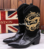 Western Style Men Fashion Pointed Toe Embroidery Genuine Leather Mid calf Boots Men Low Heel Short Boots Slip on Knight Boots