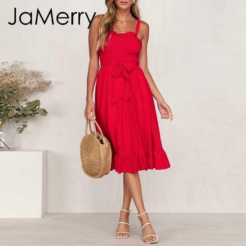 JaMerry/винтажное Сексуальное Женское платье без рукавов с поясом-бабочкой, Длинные миди платья летние выходные пляж, повседневные платья 2019