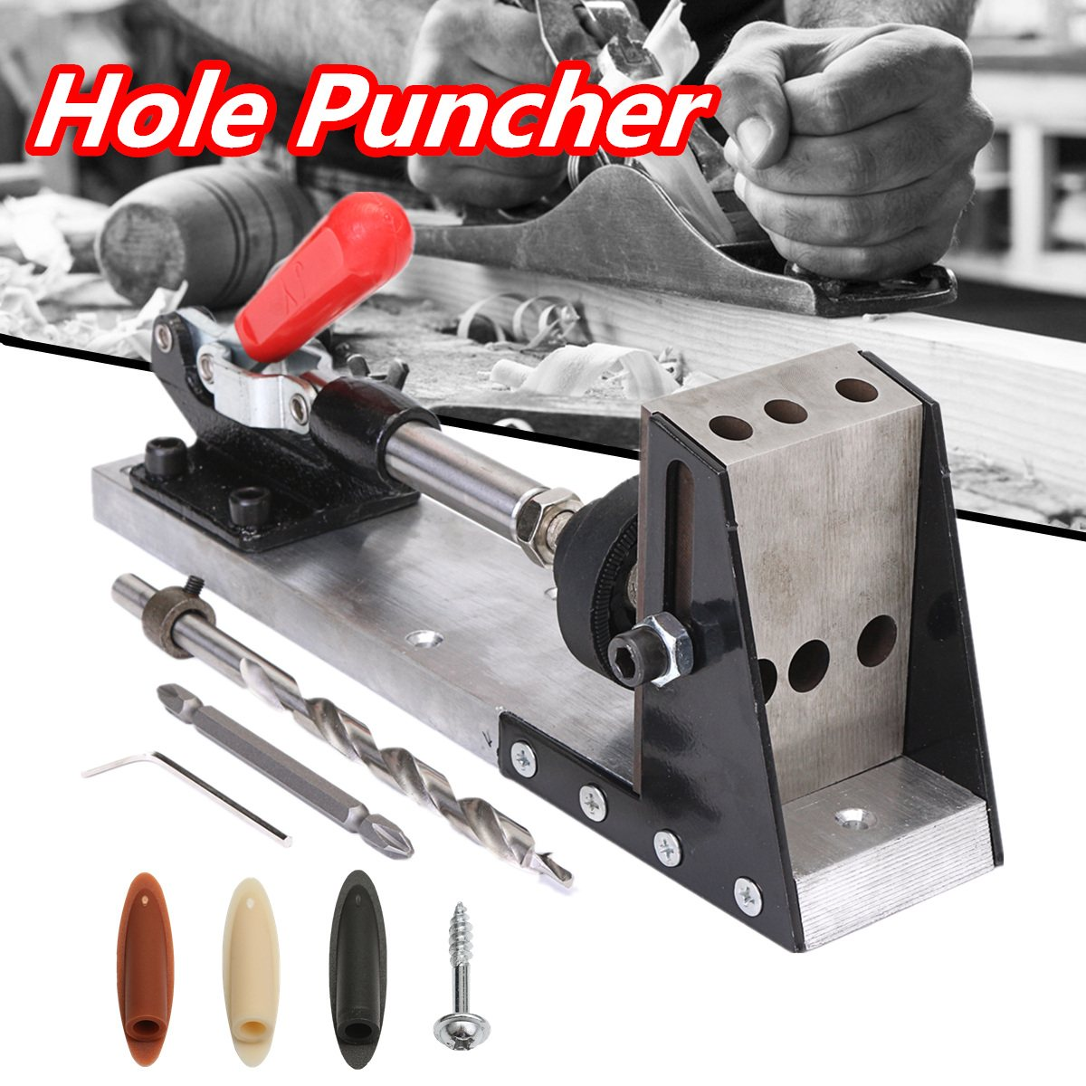 Woodworking Tool Pocket-Hole Puncher Jig Drill Guide Master Kit Carpenter Joinery System Woodworking Plug Cut Tool pocket hole jig woodwork guide repair carpenter kit woodworking tool