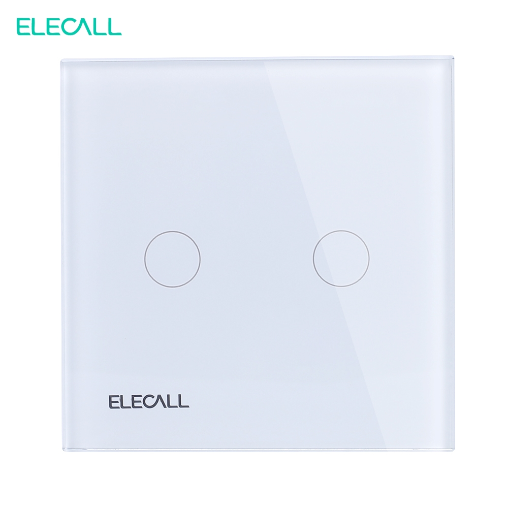 ELECALL EU Standard Smart Touch Switch Wall Light Touch Screen SK-A802-01EU 2 Gang 1 way White Glass Panel LED Indicator smart home us au wall touch switch white crystal glass panel 1 gang 1 way power light wall touch switch used for led waterproof