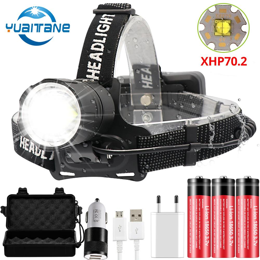8000LM XHP70.2 USB Rechargeable Led Headlamp XHP70 Most Powerfull Headlight Fishing Camping ZOOM Torch Use 3*18650 batteries