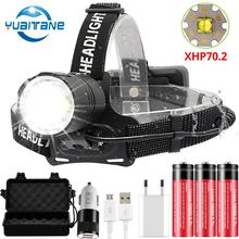 Najbardziej potężna lampa czołowa Led XHP70.2 reflektor przedni USB do powtórnego ładowania wędkarstwo Camping teleskopowa latarka z regulacją wiązki światła użyj 3*18650 baterii