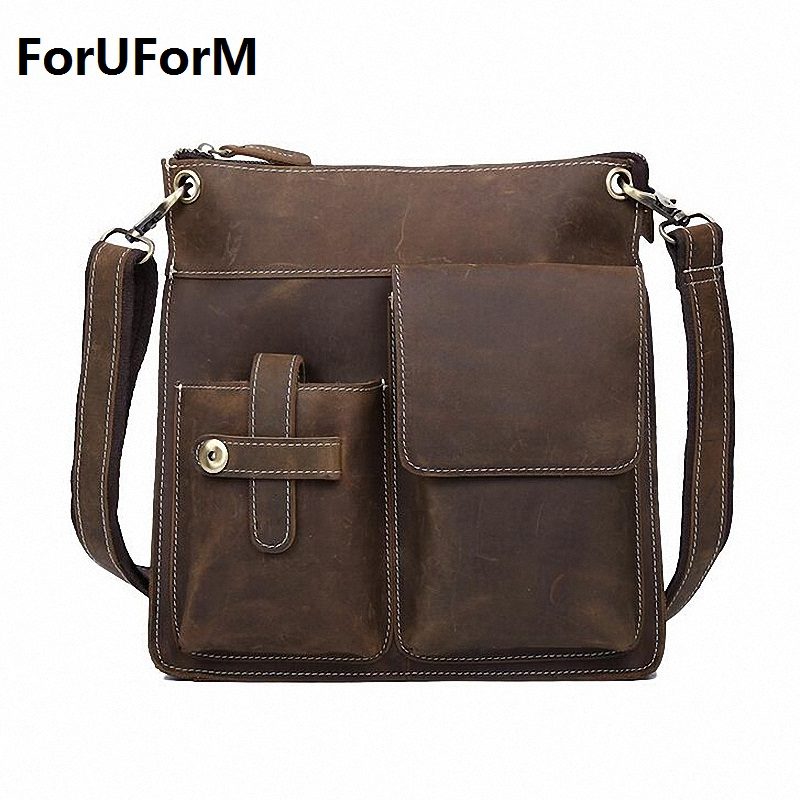 Guaranteed 100% Crazy Horse genuine Leather Men Briefcase Messenger Bags Business Men's Travel Bags Vintage Shoulder Bag LI-1099 crazy horse genuine leather men bags vintage loptop business men s leather briefcase man bags men s messenger bag 2016 new 7205