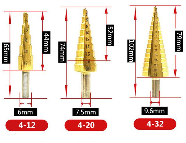 Brocas de métrico 4-12/20/32mm HSS de cono de acero broca para Metal